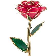Regalos para ella, QGSTAR rosa real de tallo largo preservada para siempre en oro de 24 quilates. El mejor regalo romántico personalizado para cumpleaños, ...