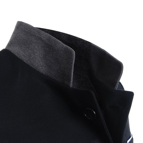 FLATSEVEN Homme Slim Casual Blazer Veste Stand Col Noir