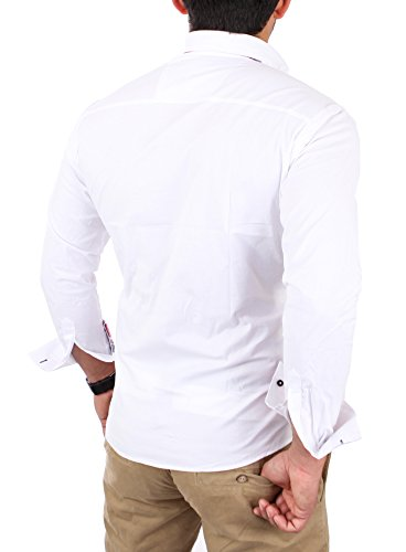 Reslad Herren Hemd Button-Down Slim Fit Bügelleicht RS-7015 Weiß