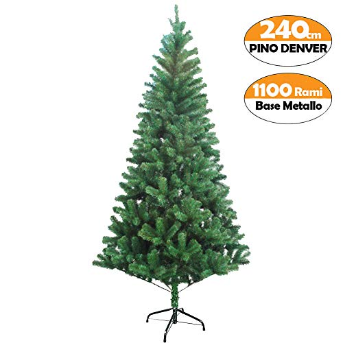 Bakaji albero di natale 240 cm nordico folto abete denver ecologico e ignifugo con base a croce in metallo rami folti, apertura ad ombrello, albero artificiale natalizio colore verde (240cm)
