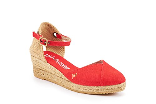 VISCATA Pubol Ankle-Strap, Closed Toe, Classic Espadrilles with 2-inch Heel Made in Spain red