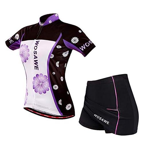 WOSAWE Tuta da Bicicletta Donna, Maglia da Ciclismo a Manica Corta + Traspirante Gel 4D Imbottite Pantaloncini Gonne