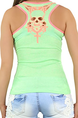 Fashion4you - Canotta - Gilet Top - Senza maniche  -  donna Mint / Coral