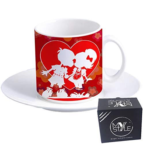 My custom style tazzina espresso+piattino#san valentino-lovely#60x57mm