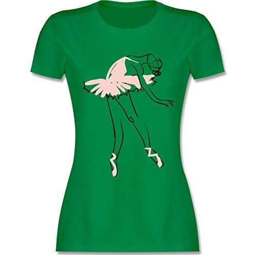 Tanzsport Balletttänzerin Ballerina tailliertes Premium TShirt mit  Rundhalsausschnitt für Damen Grün