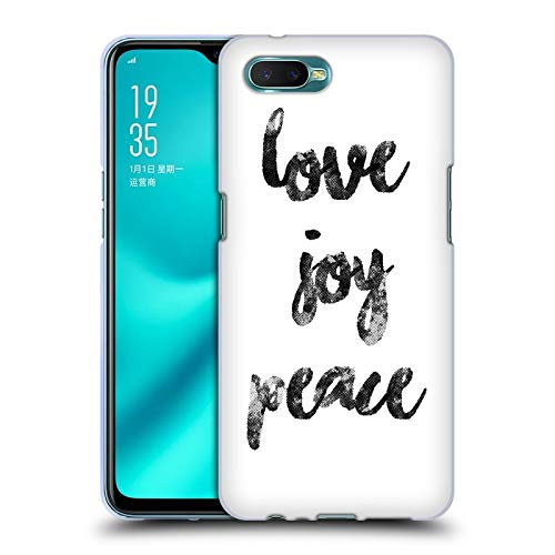 Head Case Designs Offizielle KookiePixel Love Joy Peace Typographie Soft Gel Huelle kompatibel mit Oppo R15x