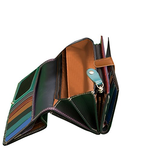 Ladies Luxury Soft Black (Multi Coloured Inside) Real Nappa Leather RFID Blocking Long Multi Fall Purse Multi Credit Card Wallet with 2 Inner Zip Compartments