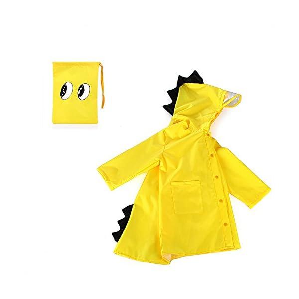YBWEN Impermeable de los niños Verde del Impermeable y Transpirable Pequeño Amarillo pequeño Dinosaurio del Impermeable… 1