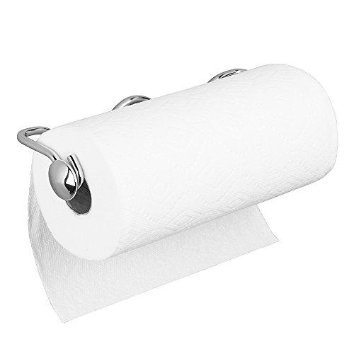 mDesign support pour essuie-tout en acier chromé - porte-papier de cuisine mural - dérouleur de papier pour montage à l'armoire de la cuisine ou au mur - 5,9 cm x 34,6 cm x 10,7 cm