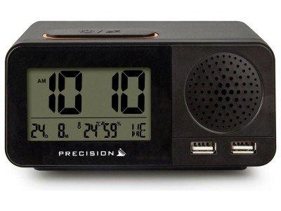 Precision Radio Controlled Digital USB Dual Alarm Black Clock Best Price and Cheapest