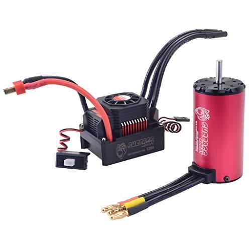 BeesClover LCLL-SURPASS 4076 2000KV Sensorless Brushless Motor 150A Brushless ESC with 8.4V 3A Switch Mode BEC LCD Programming Card ( red;2000KV+150A )