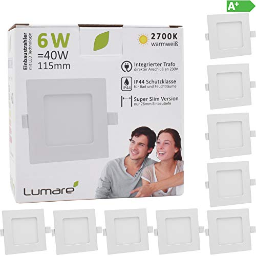 9x Lumare LED Einbauspot 6W IP44 extra flach 230V auch für Bad und Feuchtraum weiß nur 26mm Einbautiefe! Slim Deckenspot quadratisch mit integriertem 450lm LED Leuchtmittel