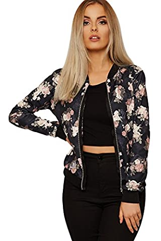 WEARALL Women's Floral Bomber Jacket Ladies Long Sleeve Rose Print