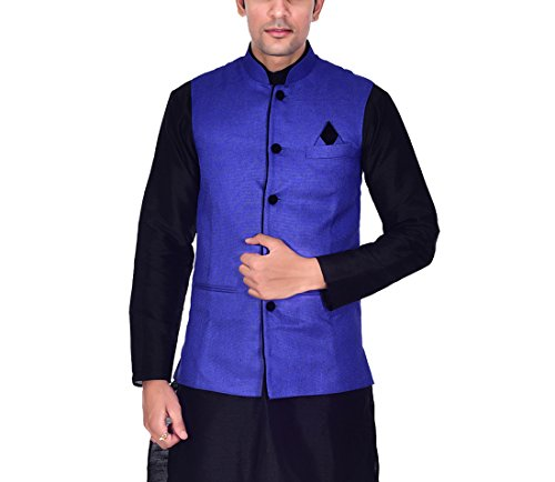 Ellegent-Exports-Mens-Ethnic-Modi-Nehru-Jute-Jacket-Blue-with-Black-Piping