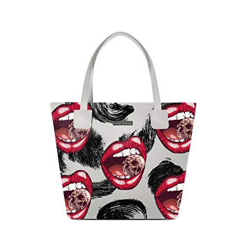 Alviero Rodriguez Shopper Deluxe Bianca Death Lips Totenkopf Skull Lippen Zähne Kunstleder -