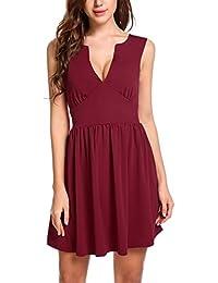 Meaneor Damen Sexy Ärmellos Rückenfreies Kleid Abendkleider Partykleid  Cocktailkleid MiniKleid Tiefer V Ausschnitt Ballkleid A Linie… 2c5a275e4f