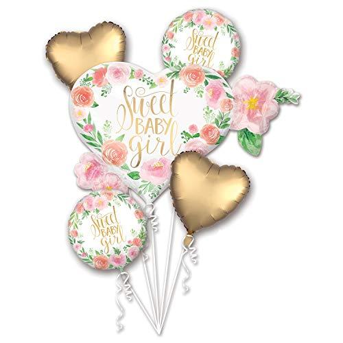 XXL Folien-Ballons Herzen SWEET BABY GIRL Statement-Ballon Baby-Shower-Party Luft-Ballon rosa apricot weiß & gold Set bestehend aus 5 Stück Deko Zubehör Dekoration Taufe Geburt Schwangerschaft Mädchen