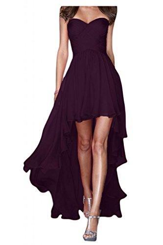 Gorgeous Bride Fashion Traegerlos Hi-Lo Chiffon Lang Abendkleider Festkleider Ballkleider -34 Grape