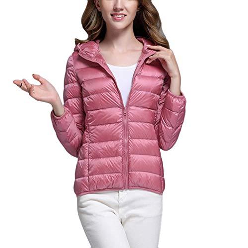ZKOOO Damen Daunenjacke mit Kapuze Leicht Warm Übergangsjacke Steppjacke Kurze Ente Runter Gefüttert Winterjacke Mantel mit Taschen Rosa