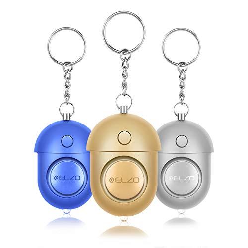 ELZO Persönlicher Alarm - 140 dB Safesound Personal Alarm mit Taschenlampe Schlüsselanhänger, Panikalarm Selbstverteidigung Sirene für Frauen Kinder Mädchen Alter Mann (3 Pack)