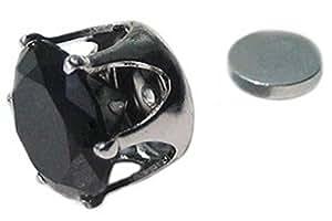 Mens Magnetic 8mm Bling Black Ice crystal stud earring