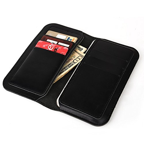 Étui portefeuille en cuir véritable pour protection d'écran pour Pioneer P4S noir noir