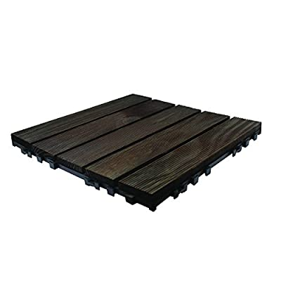 9 Pack Dark Wooden Click Deck Floor Tiles - Patio, Balcony, Roof Terrace, Hot Tub Deck Tiles Flooring Decking - low-cost UK light store.