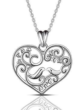 AEONSLOVE Liebhaber Vogel Herz Kette mit Anhänger Silber 925 Schmuck geschenke für Damen