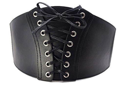 Schnalle Breite Korsett (Damen Gürtel Breit Stretch Schnalle Taille Corset Taillengürtel Hüftgürtel Korsett Gothic, G16 Schwarz One-Size)