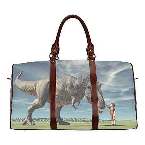 Reise-Seesack Schreckliche Dinosaurier-Statue im Wald wasserdichte Weekender-Tasche Über Nacht Tragetasche Handtasche für Damen Damen-Einkaufstasche Mit Mikrofaser-Leder-Gepäcktasche