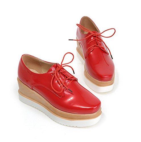 VogueZone009 Damen Lackleder Quadratisch Zehe Hoher Absatz Schnüren Rein Pumps Schuhe Rot