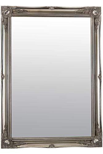 MirrorOutlet 3 FT6 x 2 FT6 106 cm x 76 cm Grande Argento Antico Ornato Progettazione Big Wall Specchio Nuovo, silver, vetro, rettangolo