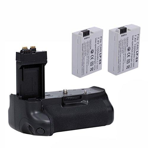 Neewer® Pro Batteriegriff Akkugriff Battery Grip für Canon EOS 550D 600D 650D 700D/ Rebel T2i T3i T4i T5i SLR Digitale Kameras, Set beinhaltet:1x BG-E8 Batterie Griff + 2x LP-E8 Li-Ion Akku (Kamera Canon T3i Rebel)