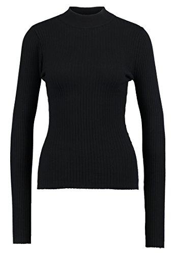 Even&odd maglione da donna con tessuto a coste - maglioncino femminile con collo alto - maglia a manica lunga, nero, xs
