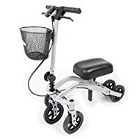 StrideOn Knee Walker with basket and extra thick knee pad 90 degree Turning Circle stable 5 wheel design. Foldable Knee Scooter for non-weight bearing injuries below the knee