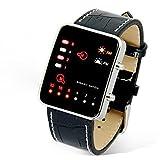 OdeJoy Digital RotLEDSport Handgelenk Uhr Binär Armbanduhr PULeder FrauHerren Armbanduhren Sportlich Uhren Digitaluhren Jungen Armbanduhr Elektronisch Uhren Bewegung Uhr (Schwarz,1 PC)
