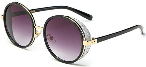 sojos Vintage gotico Steampunk in metallo e plastica combinated Round Frame con Bling sidecups e lenti a specchio occhiali da sole donne sj2022 C1 Black Frame/Grey Lens