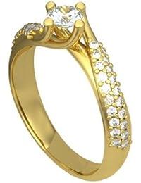 0,40 quilates H/SI1 Anillo solitario de compromiso de diamante para mujer con Redonda diamantes en 18k Oro amarillo