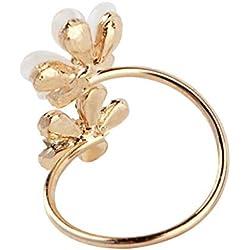 Dailyinshop 1 unid Cristal Doble Margarita Anillo de Pétalos de Flores Lindo Diseño de Marca Rhinestone Anillo Ajustable Rhinestone para Las Mujeres Joyería Fina, Oro