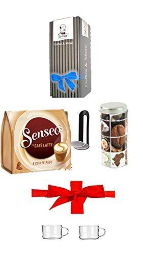 """Paddose """" Kaffeemotive I """" + Padheber + Senseo Cafe Latte, 10 Kaffee Pads + 200ml Glastasse mit Henkel verpackt im Geschenk Karton jetzt schon an Weihnachten denken"""