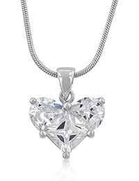 Eleganter Herz Ketten-Anhänger mit Zirkonia Diamanten, Brautschmuck, 14 Karat Weißgold Vermeil