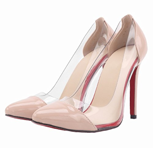HooH Femmes Transparent Rouge Semelle Pointed Toe Escarpins Pumps Nude