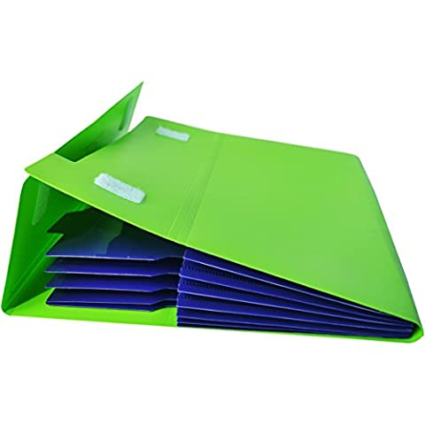 KOBEST Cartellina espandibile con tasca per documenti in formato A4 e Letter-Organizer per cartelle, 5 tasche, in Nylon stylishwith bottoni colorati e molto leggero green and purple