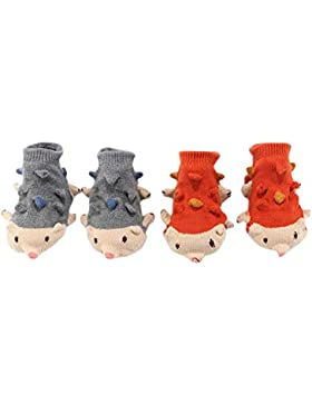 2 pares de calcetines para bebés recién nacidos antideslizantes Medias cálidas para bebés de 9-11.5 cm para 0-...
