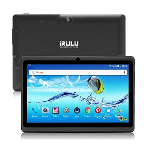 Tablet PC 7 Zoll Android 8.1 Quad Core Google Play Store 1024x600 Dual Kameras Bluetooth WiFi 1GB/8GB Google Play Store Netfilix Skype 3D Spiel GMS Zertifiziert Unterstützt - Schwarz (Irulu Pc Tablet)