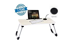 Callas Multipurpose Foldable Laptop Table with Cup Holder, Study Table, Bed Table, Breakfast Table, Foldable and Portable/Ergonomic & Rounded Edges/Non-Slip Legs, CA025G, Gray