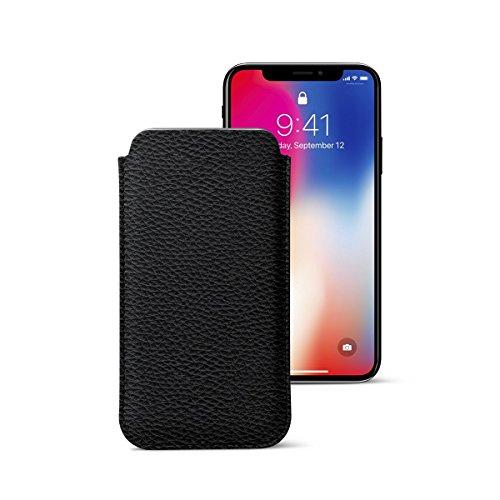 Lucrin - Klassische Schutzhülle für iPhone X - Schwarz - Leder genarbt Schwarz