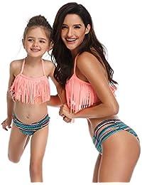 a27800a07b SWRIR Badeanzug mit Quasten-Split-Sling, Eltern-Kind-Badeanzug Hoher  Taillenmode-Bikini, Mutter…
