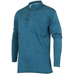Grandad–Camiseta lisa, 100% algodón multicolor Ocean Blue L