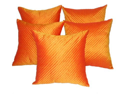 Zikrak exim Quilting cushion cover orange 5 pcs set 40 x 40 cm